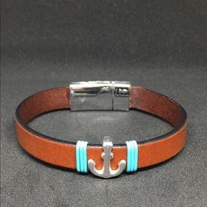 "Jewelry - 8"" Leather Strap Anchor Bracelet w/Magnetic Clasp"